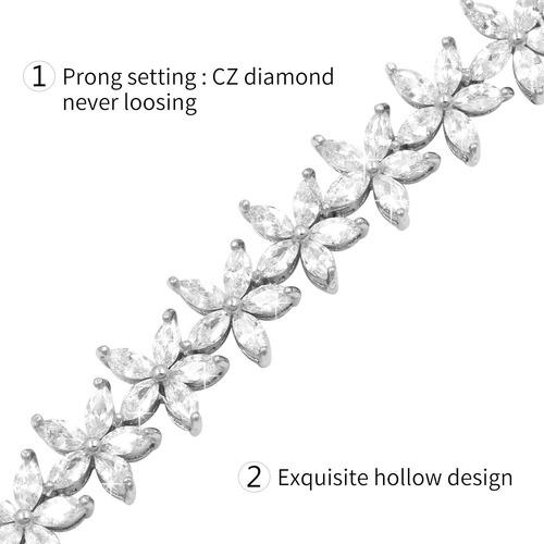 weimanjewelry claro flor cúbicos zirconia tenis ajustable de