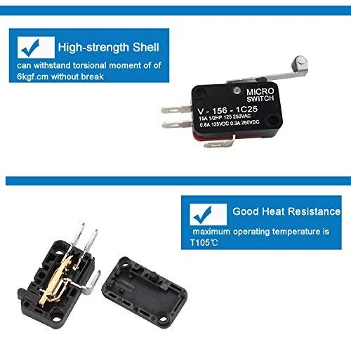 10 Pack WeiMeet V-156-1C25 Micro Limit Switch Long Hinge Lever Roller Momentary SPDT Micro Switch Snap Action for Arduino