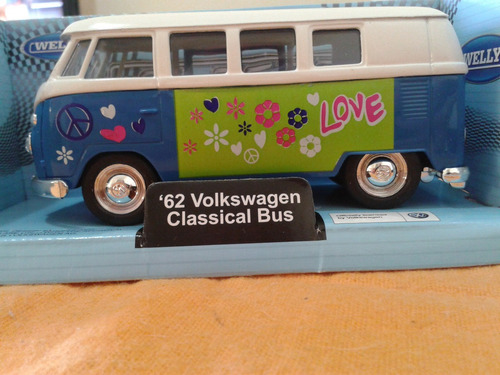 welly 62 vw classical bus peace/love - lacrado