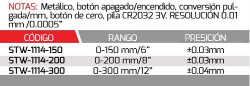 weston calibrador digital metal 0-8 mod:stw-1114-200