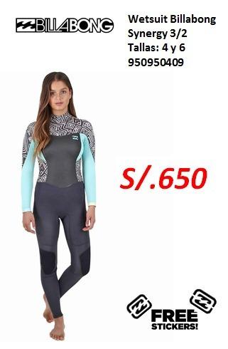wetsuit billabon synergy 3/2mm talla 4 y 6
