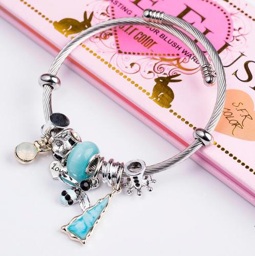 wg pulsera brazalete tipo pandora moda charm mayoreo bz003