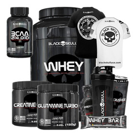 Whey 1kg + Creat + Glutamina + Bcaa + Camiseta - Black Skull