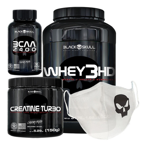 whey 3hd 900g + bcaa + creatina 150g + brinde - black skull