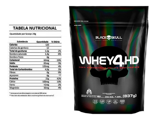 whey 4hd - blackskull (837g) (baunilha)