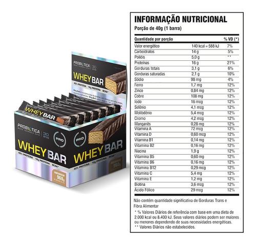 whey bar - 24 un. probiótica - barra de proteina - 6 sabores
