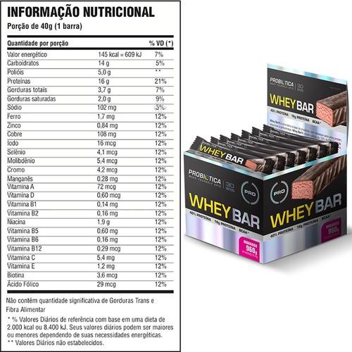 whey bar - 24 un. probiótica - barra de proteina