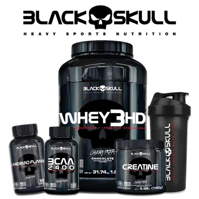 de07bf491 Kit Whey 3hd + Bcaa + Creatina + Thermo + Copo - Black Skull - R ...