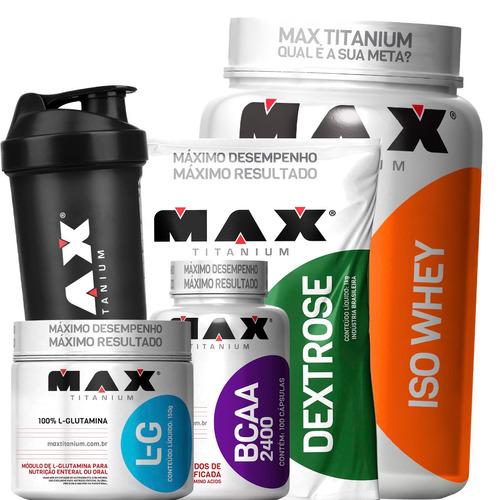 whey isolado + bcaa + glutamina + dextrose - max titanium
