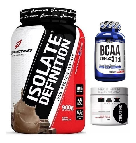 whey isolate definition 900g + bcaa 60 caps + creatina 100g