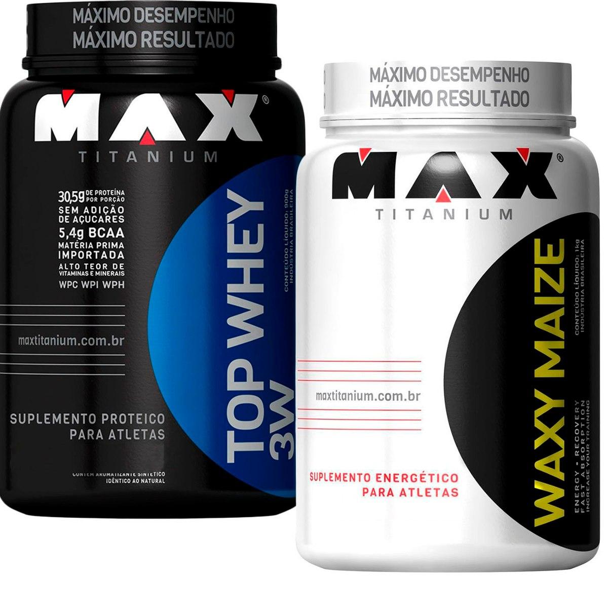 50ac9517e Whey Proten Top 3w + Waxy Maize - Max Titanium - R  179
