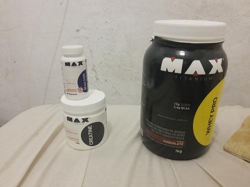 whey pro 1kg, creatine 100g e bcaa 2400 60 cápsulas usado 2x