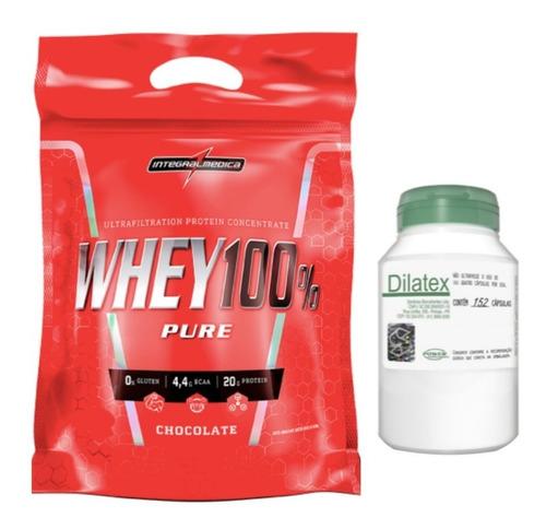 whey protein 100% refil 907g integral + dilatex 152 cáps