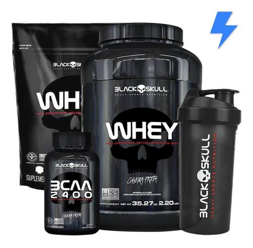 whey protein 1kg + whey 900g + bcaa + shaker - black skull