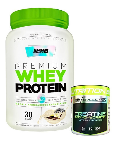 whey protein 2 lb + creatina 300 gr star nutrition