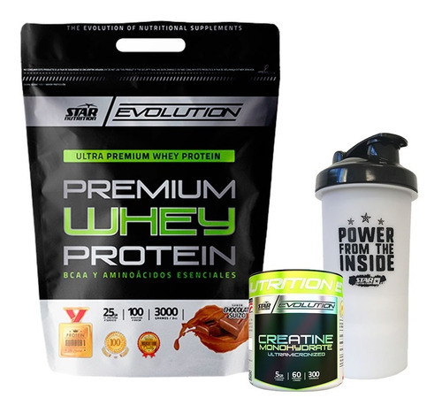 whey protein 3 kg + creatina 300 grs + shaker star nutrition