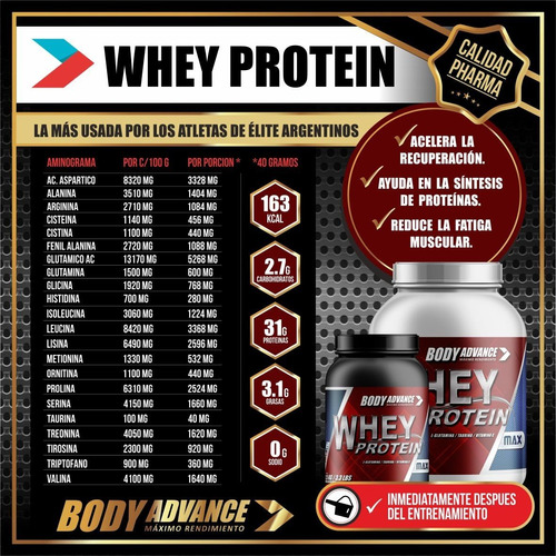 whey protein 3 kg. proteína pura. body advance