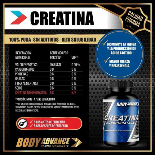 whey protein 3 kg ( proteína pura ) + creatina 200 gr. body advance