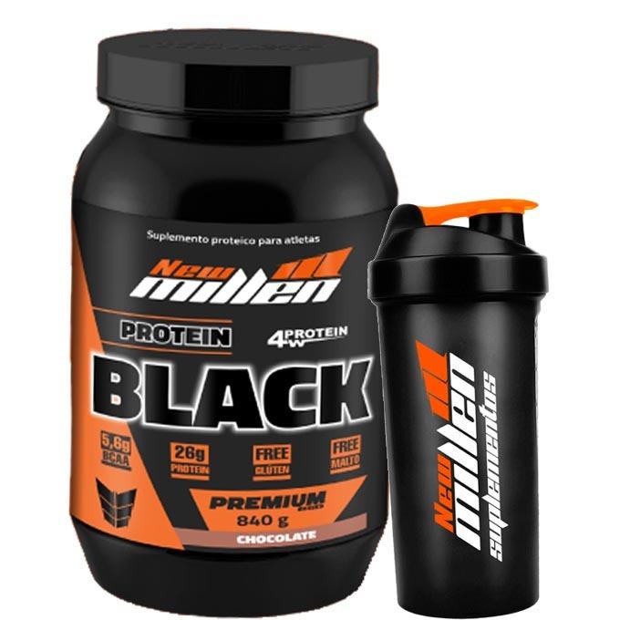 f4e75de36 Whey Protein 3w Protein Black 840g - New Millen + Brinde - R  79