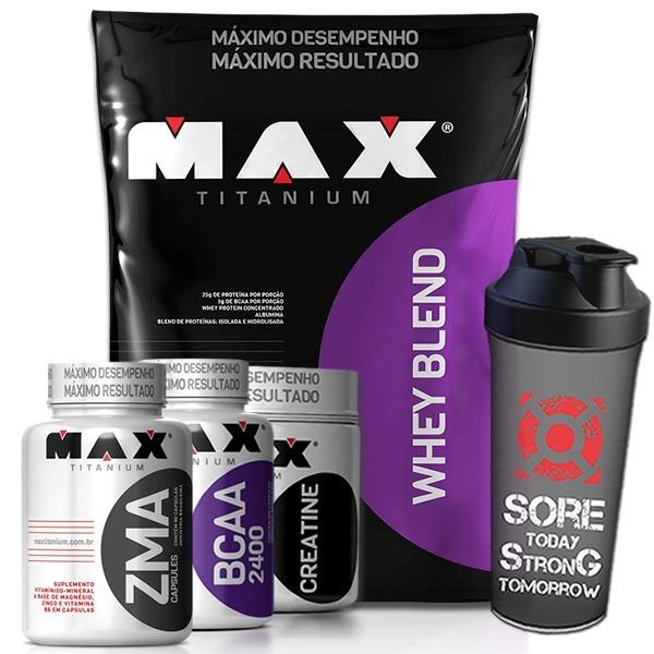 bb556c942 Whey Protein Blend 2kg + Bcaa + Zma + Creati. - Max Titanium - R ...