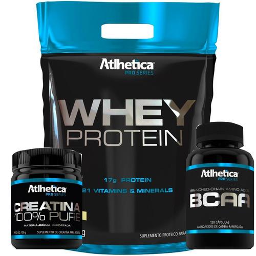 whey protein gold 1,8kg + creatina 100% 100g + bcaa 120caps