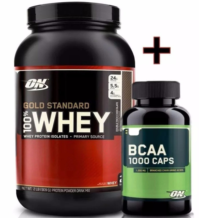 b0ce55b3f Whey Protein Gold Standard 100% Optimun + Bcaa On 60caps - R  180