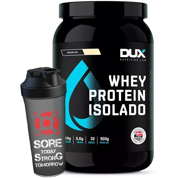 185cfea56 Whey Protein Isolado Pote 900g + Shaker - Dux Nutrition - R  159