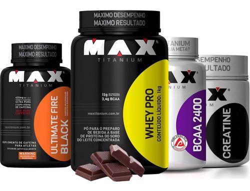 whey protein max titanium + bcaa 2400 + creatina + termo