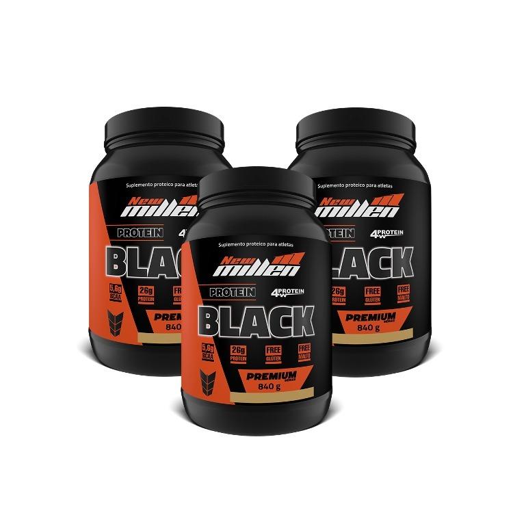 9ee1ee8c9 Kit 3x Whey 4w Protein Black 840g New Millen - R  239