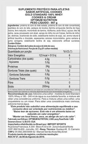 whey proten optimum on - gold standard 907g - pronta entrega