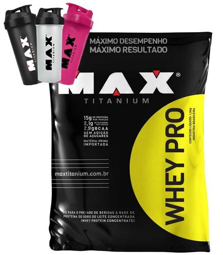 whey proten pro - 1,5kg - max titanium - refil + coq brinde