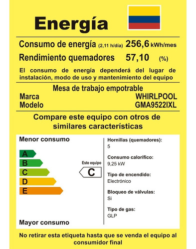 whirlpool cubierta a gas - 5 quemadores encendido electronic