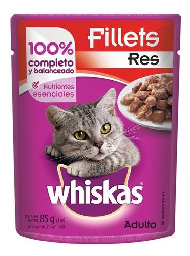 whiskas pouch trozos carne de res alimento seco 85 gr gato