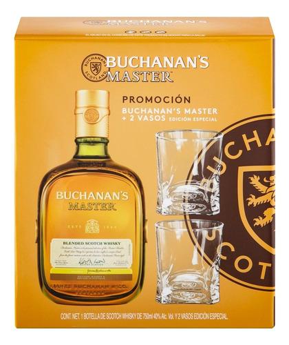 whisky buchanans master  de 750ml + 2 vasos