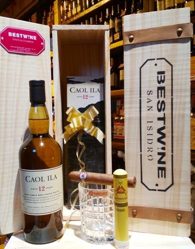whisky caol ila 12 años + vaso + habano + cofre madera