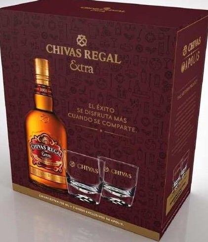 whisky chivas extra con vasos en caja - recoleta