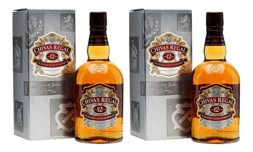 whisky chivas regal 12 años c/est oferta 2 botellas escoces