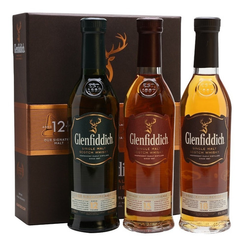 whisky glenfiddich taster set 3 bot x 200ml 12, 15 y 18 años