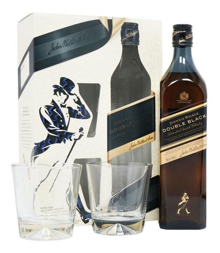 whisky johnnie walker double black pack c/2 vasos 750ml
