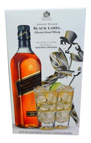 whisky johnnie walker etiqueta negra de 750 ml + 2 vasos