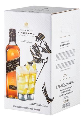 whisky johnnie walker etiqueta negra de 750ml + 2 vasos hb