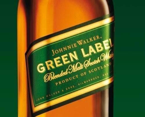 whisky johnnie walker green label de litro botella antigua