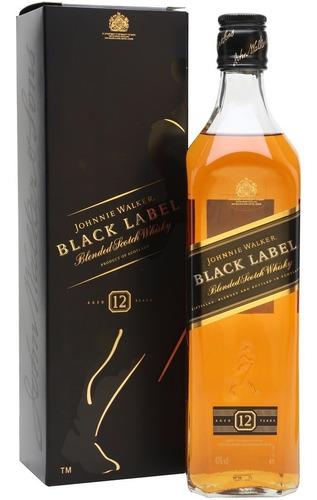 whisky johnny walker black label con estuche importado
