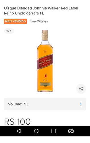 whisky red label 1litro