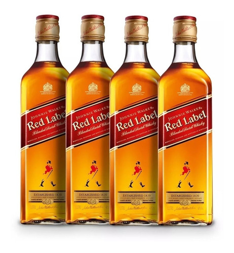 whisky red label 750ml -4 unidades - original c/ nota fiscal