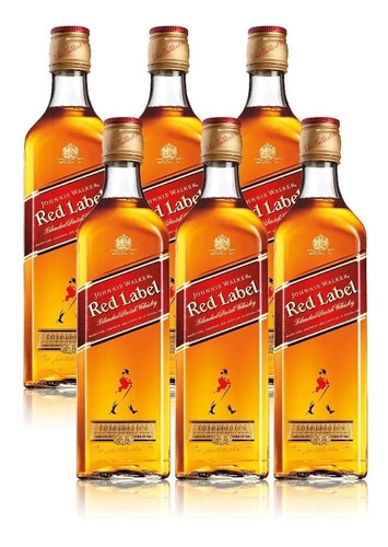 whisky red label 750ml - 6unidades - original c/ nota fiscal
