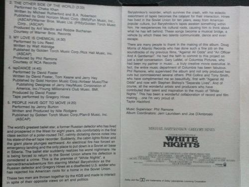 white nights soundtrack cassette usado 1ra edición 1985 usa