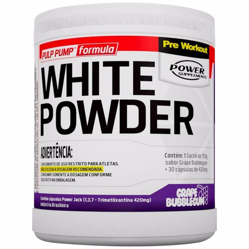 white powder pré treino creatina cafeína power 150g + 30 cap