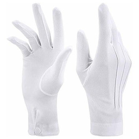 White Stitched Cotton Gloves For Formal Tuxedo Jewelry Inspe
