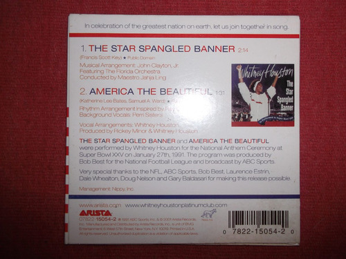 whitney houston - star spangled banner cd ep usa 2001 mdisk